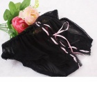 Women's Sexy Lace Open Crotch Panties Underwear - Black + Pink