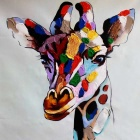 Canvas Art Beautiful Giraffe Oil Painting - Red + Purple + Multicolor