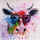 Frameless Canvas Art Fashional Mr. Cow Wearing Glass Oil Painting - Red + Black + Multicolor