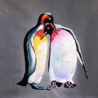 Frameless Canvas Art der Pinguin Paare im Liebes-Ölgemälde - Schwarz + Rot + Multi-Color-