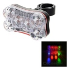 Seat Post Mounted 7-Mode 6-LED Red + Green + Blue Taillight Bike Warning Light - Black (2 x AAA)