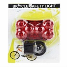 Seat Post Mounted 7-Mode 6-LED Red Light Taillight Bike Light - Red