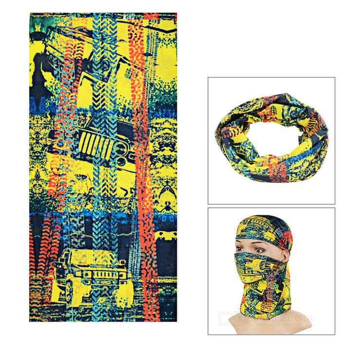 Outdoor Cycling Headband / Face Mask / Neck Scarf - Yellow +Blue