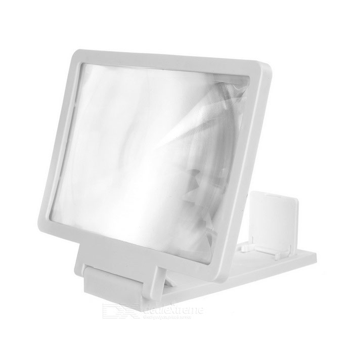 Folding Screen Enlarging Magnifier Desktop Mount for Phones - White