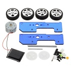 DIY Assembling Educational Solar Powered Car Toy - Blue + Black