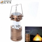 ZHISHUNJIA G-85 Solar Power Rechargeable 6-LED Camping Lantern Light - Coffee Gold