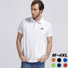 Men's Frog Pattern Embroidery Short Sleeve Polo-Shirt - White (XXL)