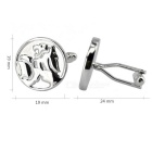 Men's Lion Pattern Brass Suit Cufflinks - Silver (Pair)