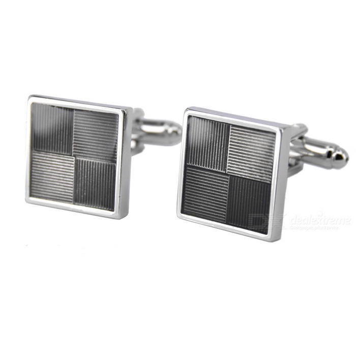 Men's Grid Stripe Pattern Cufflinks - Silver + Black (Pair)
