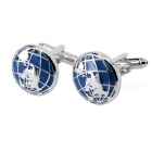 Men's Round Earth Pattern Cufflinks - Silver + Blue (Pair)