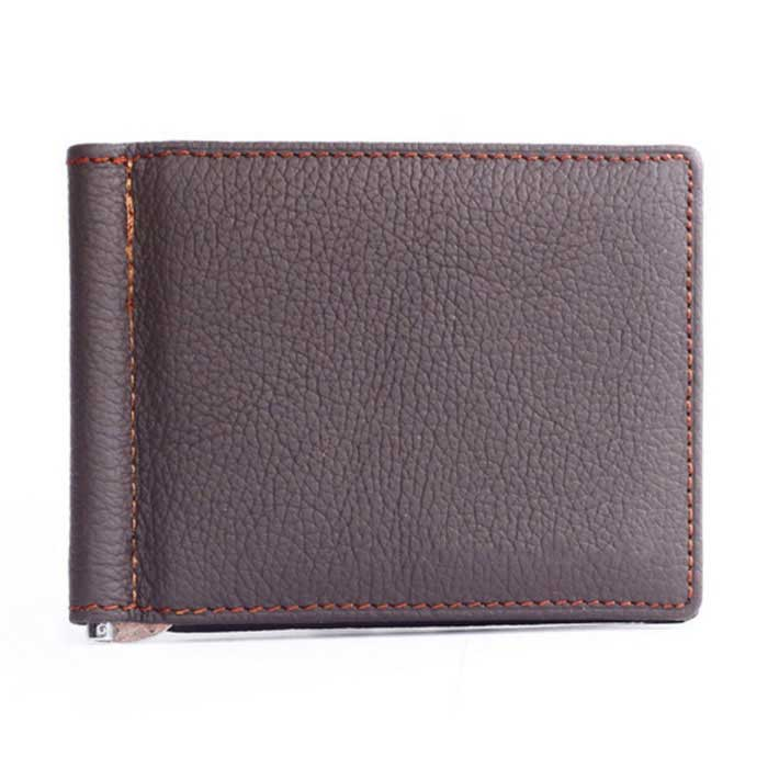 Men's Multifunctional Retro Genuine Leather Cash Clip Wallet - Coffee