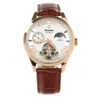 Bestdon BD7113G Men's Leather Band Glow-in-the-Night Automatic Mechanical Watch - Rosy Gold + Brown