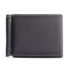 Men's Multifunctional Retro Genuine Leather Card Holder Money Cash Clip Mini Wallet - Black