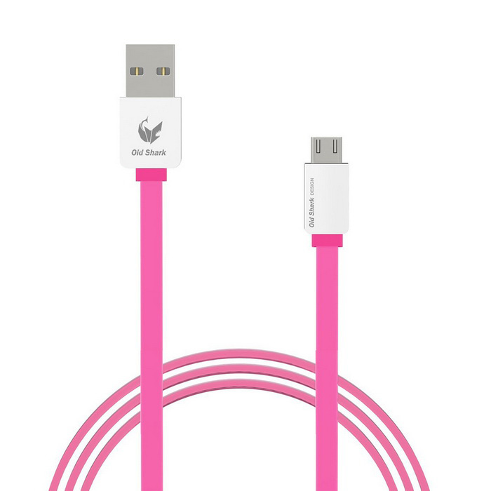 OLDSHARK Micro USB to USB 2.0 Flat Charging Cable - Deep Pink (1m)