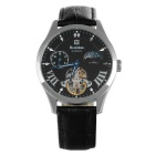 Bestdon BD7113G Men's Leather Wristband Glow-in-the-Night Automatic Mechanical Watch - Silver +Black
