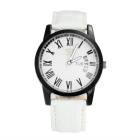 Kasi Y008 Unisex Stylish Simple Roman Numerals Dial Quartz Watch w/ Calendar - White + Black