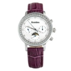 Bestdon BD5521L Women's Multifunction Waterproof 3-Sub Dials Quartz Watch - Silver + White + Purple
