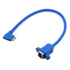 CY U3-250-LE USB 3.0 Type B Female to Micro 90 Degree Left Angled Cable w/ Panel Mount Screw Holes