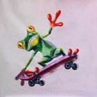 Canvas Art Mr. Frog Playing Skateboard Oil Painting - Green + Red + Multicolor