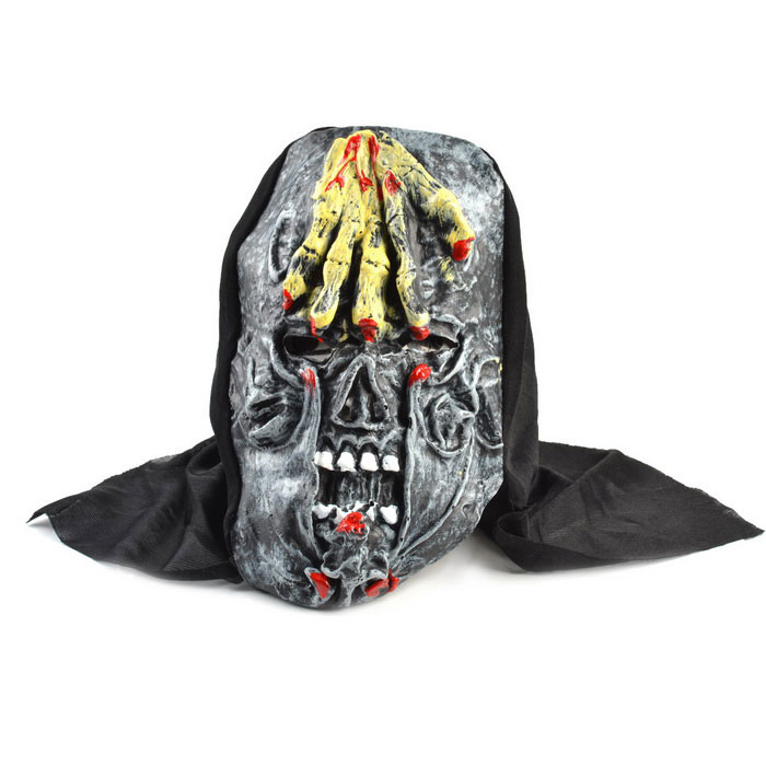 Hand Grasp Skull Rubber Mask for Costume Party - Black + Yellow