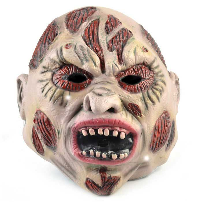 Scarface Rubber Mask for Cosplay Costume - Red + Beige + Multi-Color