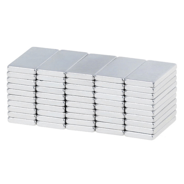 20 * 10 * 2mm forte aimants rectangle ndfeb - argent (50PCS)