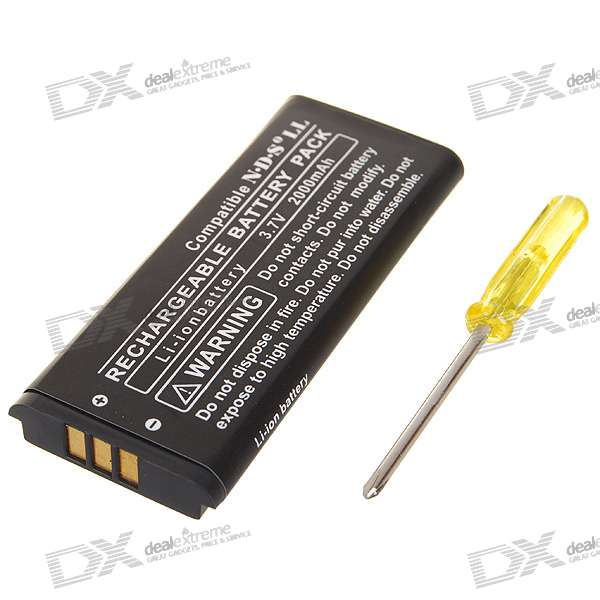 3.7V 2000mAh Li-Ion Replacement Battery Kit for NDS LL