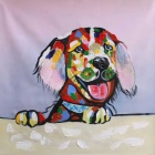 "Canvas Art Cute Labrador Dog Oil Painting - Red + Black + Multicolor (23"" x 23"")"