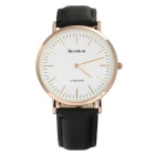 Bestdon BD5530G Men's Ultra-thin Fashion Leather Strap Waterproof Quartz Watch - Rose Gold + Black