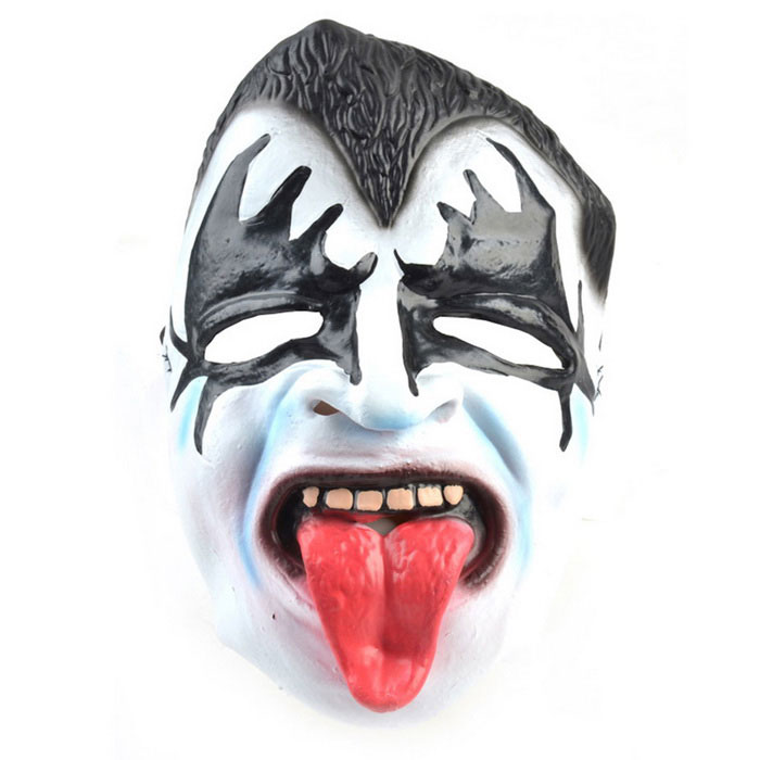 Wagging Tongue Ghost Rubber Mask for Cosplay Costume Party - Black