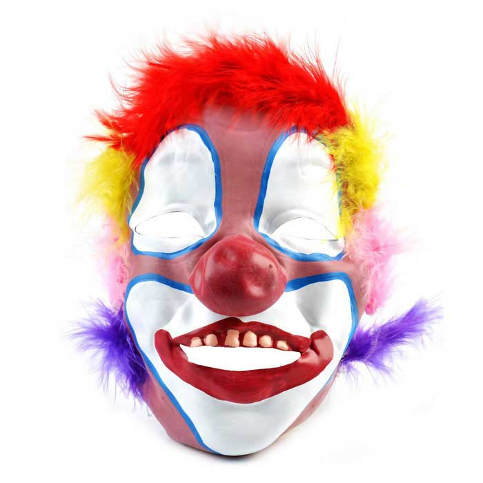 Clown Wearing Colorful Feather Rubber Mask for Costume - Red