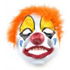 Clown Wearing Colorful Feather Rubber Mask for Costume - Orange