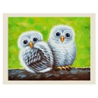 "Frameless Canvas Art Little Adorable Owl Babyies Oil Painting (6""x8"")"