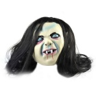 Blue Eyes Long Hair Ghost Rubber Mask for Cosplay Costume - Black
