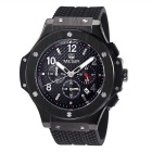MEGIR Men's Multifunction Waterproof Silicone Wristband 3-Sub Dials Quartz Watch - Black