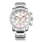 MEGIR Men's Steel Band Analog Quartz Wrist Watch w/ Calendar - Silver + White + Rose Gold