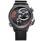 MEGIR Men's Dual Movement Dual Display Fashion Sport Silicone Wristband Quartz Watch - Black