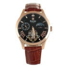 Bestdon BD7113G Men's Noble Luxury Leather Strap Automatic Mechanical Watch - Black + Brown