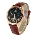 Bestdon BD7113G Men's Leather Strap Mechanical Watch - Black + Brown