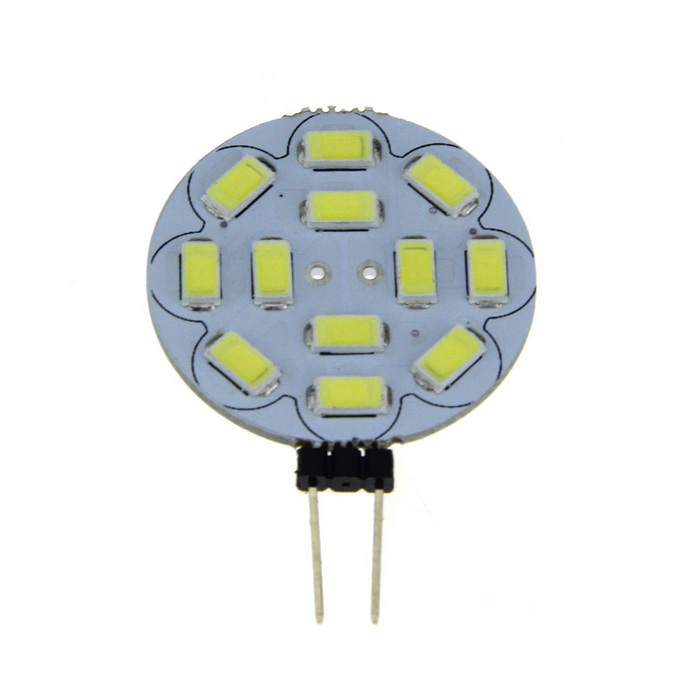 G4 3W 12-LED 400lm Round Board LED Light Cold White + G4 Ceramic Base