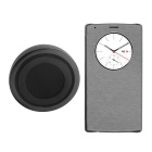 Qi Wireless Charger Transmitter + PU Flip Case Receiver w/ View Window / NFC for LG G4 - Gray