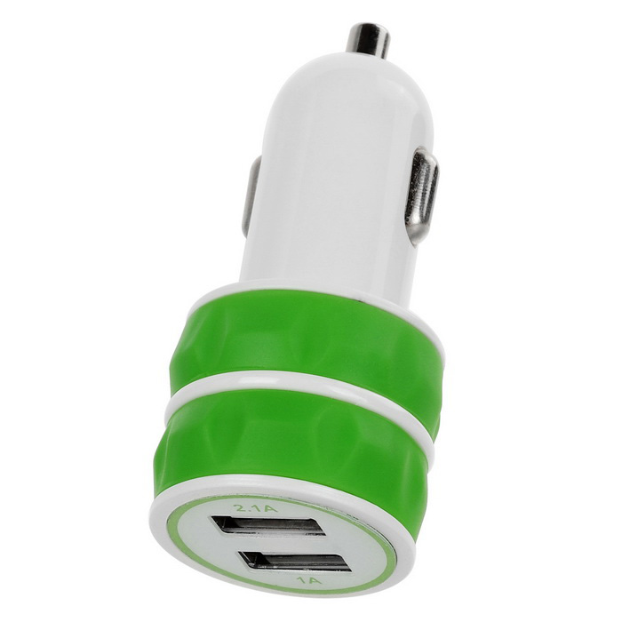 Jtron 3.1A Dual USB Universal Car Charger - Green + White