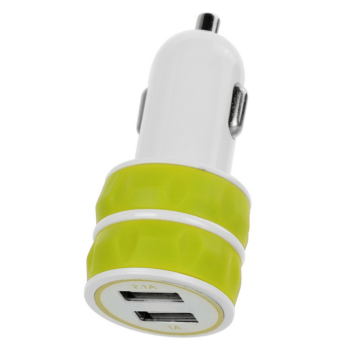 Jtron 3.1A Dual USB Universal Car Charger - White + Fluorescent Yellow