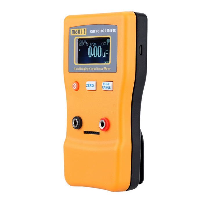 M6013 2 LCD Capacitance Meter Tester Measuring ToolOther Measuring &amp; Analysing Instruments<br>Form  ColorOrangeModelM6013Quantity1 DX.PCM.Model.AttributeModel.UnitMaterialABSScreen Size2 DX.PCM.Model.AttributeModel.UnitPowered ByAA BatteryBattery Number2Battery included or notNoPacking List1 x Capacitance meter 2 x Test leads (0.3m)1 x User manual (English)<br>