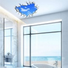 3D Beautiful Blue Sky & White Cloud PVC Wall Sticker Decal - White + Blue