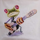 "Frameless Canvas Art Mr. Frog Playing Guitar Oil Painting - Green + Purple + Multi-color (23"" x 23"")"