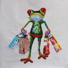 "Frameless Canvas Art Mr. Frog Shopping Oil Painting - Green + Red + Multicolor (23"" x 23"")"