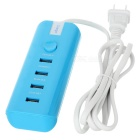 US Plug USB 4-Port Smart Fast Charging Power Socket w/ Switch - Blue