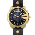 CURREN 8176 Men's PU Band Quartz Analog Wrist Watch w/ Calendar - Black + Gold (1 x 626)