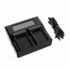 "USB 2.0 2-Slot Battery Charger w/ 3"" Screen for Sony F960, 970 - Black"